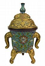 19th Century Chinese Gilt Bronze Mounted Cloisonné Enamel Covered Censer with Figural Elephant Head Legs and Handles and Recumbent Elephant with Vase Finial. Unsigned. Rubbing to Gilt Surfaces Otherwise Good Condition. Measures 15 Inches Tall and 9