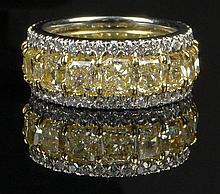 Ladies Very Fine Approx. 6.25 Carat Radiant Cut Fancy Intense Yellow Diamond, 1.80 Carat Round Brilliant Cut Diamond, Platinum and 18 Karat Yellow Gold Eternity Band. Fancy Intense Yellow Diamonds VS Clarity, Round Brilliant Cut Diamonds E-F Color,