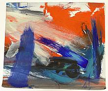 Seymour Franks, American (1916-1981) Abstract Gouache on Paper. Unsigned. Tears and Losses to Edges from Handling. Measures 27-3/4 Inches Tall and 23-5/8 Inches Wide. Shipping $48.00