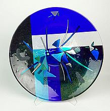Contemporary Savanah Glass Art Glass Charger. Signed Savanah, 2000. Very Good to Excellent Condition. Measures 19-3/8 Inches Diameter. Shipping $200.00