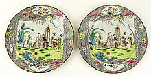 Pair of 19th C Hand Painted English Soft Paste Porcelain Plates, Decorated in a Chinese Motif. Unsigned. Wear, Rubbing or in Otherwise Good Antique Condition. Each Measures 8 Inches Diameter. Shipping $32.00