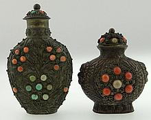 Two (2) Chinese Mongolian Copper Snuff Bottles with Inset Coral and Turquoise beads. One Signed China. Loss of One Coral bead to One Otherwise Good Condition. Taller Measures 3-1/2 Inches Tall and 2-1/8 Inches Wide. Shipping $32.00