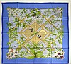 New and Unused French Hermes Silk Twill Scarf with Bamboo and Orchid Motif. Signed. As New Condition in Original Plastic Sleeve with Paperwork. Measures 36 Inches Square. Shipping $24.00