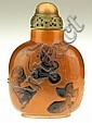 19th Century Chinese Carved Amber Snuff Bottle with High Relief Undersea Fish Motif and Matching Stopper. Signed with Chinese Eight (8) Character Mark. Good to Very Good Condition. Measures 3-1/8 Inches Tall and 2-1/8 Inches Wide. Shipping $20.00