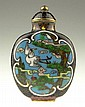 Early 20th Century Chinese Cloisonné Snuff Bottle with Matching Stopper. From the Collection of a Founding Member of the International Chinese Snuff Bottle Society. Signed Under Base. Good to Very Good Condition, No Spoon. Measures 2-1/2 Inches Tall