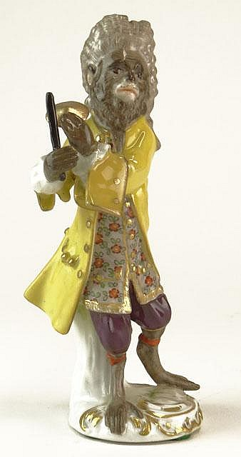 Antique Meissen Germany Porcelain Figural Monkey Band Member