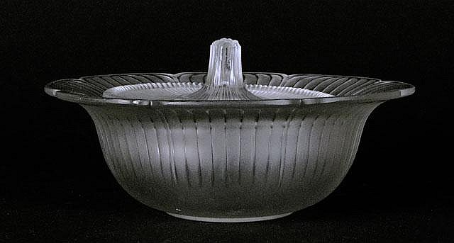 Early to Mid 20th Century Rene Lalique Covered Candy Dish. Signed R. Lalique, France. Molded Signature. Very Good Condition. Measures 3-3/4 Inches Tall and 7-3/4 Inches Diameter. Shipping $55.00