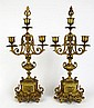 Pair of 20th Century French Gilt Bronze Four (4) Light Candelabra. Signed Made in France. Good Condition. Measure 17 Inches Tall and 7-1/4 Inches Wide. Shipping $65.00