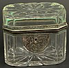 19/20th Century Crystal and Bronze Mounted Vanity Box with with Lock (sans key) Unsigned. Good Condition or Better. Measures 3-7/8 Inches Tall, 4-5/8 Inches Wide and 3-3/8 Inches Depth. Shipping $30.00