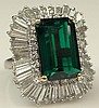 Large Vintage Synthetic Emerald, Tapered Baguette Cut Diamond, Round Brilliant Cut Diamond and Platinum Ring-dant. Diamonds F-G Color, VS1-SI1 Clarity. Signed. Minor Surface Wear from Normal Use Otherwise Good Condition. Ring Size 6-1/2. approx.