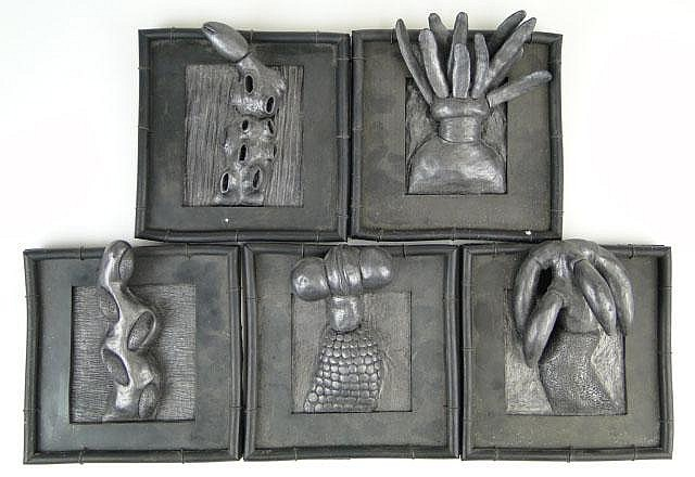 Carol K. Brown American (1945- ) Series of Five (5) Plastic, Rubber and Wire Sculpture Squares. Each Signed Carol K. Brown and Numbered S-52, S-66, S-96, S-140, S-163. As Found Condition. Measures 6 Inches by 6 Inches Each. Shipping $51.00