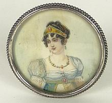 Antique Finely Hand Painted Ivory Portrait Miniature in Frame