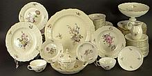 Eighty Five (85) Piece Royal Copenhagen Porcelain Dinner Service in the 'Frijsenborg' Pattern Including Twelve (12) Dinner Plates; Twelve (12) Salad/Dessert Plates; Twelve (12) Bread Plates; Twelve (12) Soup Plates; Twelve (12) Fruit Bowls; Twelve