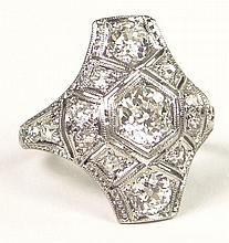 Antique Approx. 1.20 Carat European Cut Diamond  and Platinum Ring. Diamonds G-H Color, VS Clarity. Unsigned.  Surface Wear from Normal use Otherwise Good Condition. Ring Size 4. Approx. Weight: 2.75 Pennyweights. Shipping $28.00