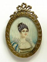 Antique Finely Hand Painted Ivory Portrait Miniature in Bronze Frame