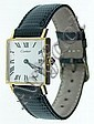 Vintage Swiss Concord Watch Co. for Cartier 14 Karat Yellow Gold Square Lady's Tank Manual Watch with Lizard Strap. Signed. Minor Wear to Case, Good Running Condition. Measures 1-1/8 Inches Tall and 7/8 Inches Wide, with Strap Measures 8-1/8 Inches