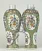 Pair of 19th Century Chinese Export Porcelain Rose Medallion Meiping Vases with Extended Necks. Unsigned. Rubbing, Wear or else Good to Very Good Condition. Measures 11 Inches Tall and about 4-5/8 Inches Diameter at the Shoulders. Shipping $72.00