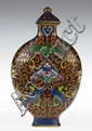Chinese 19th Century Cloisonné Snuff Bottle with Fish, Bats and Floral Decoration. Unsigned. Good to Very Good Condition. Measures 3 Inches Tall and 1-3/4 Inches Wide. Shipping $20.00