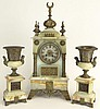 Antique Bronze Mounted Persian Inspired Three (3) Piece Clock Garniture Set. The Group Includes Marble Clock with Finials, Pedestals, and Stepped Feet. Measures 22 Inches Tall, 9-3/4 Width, 6-1/2 Inches Deep. The Side Urns Measures 12 Inches Tall,