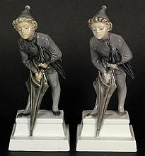 Pair of Royal Copenhagen Porcelain Figurines