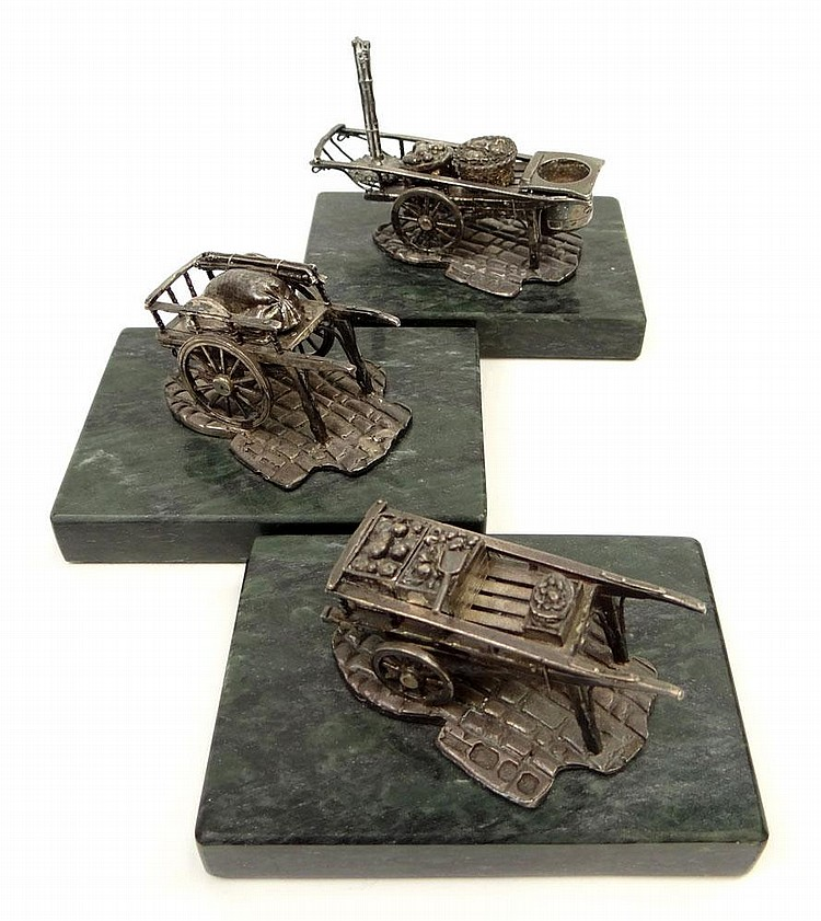 Three (3) London England Sterling Silver Miniatures of Vendor Carts Mounted (Attached) to Marble Bases. Each with English Hallmarks Date Letter for 1978 and Makers Mark PJS. Carts Have Removeable Parts. Average Measures 2 Inches Tall and Base