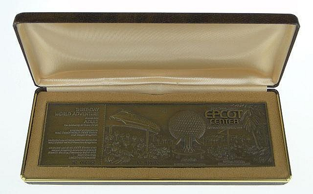 1982 Walt Disney Special Limited Edition Commemorative Ticket Epcot Center Bronze Paperweight