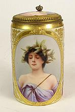 Antique Royal Vienna Handpainted Porcelain Covered Mug/Stein
