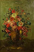 Dutch School 19/20th Century Still Life Oil on Canvas, Bulbous Vase with Spring Flowers, Unsigned. Picture Measures 20-1/4 Wide, 30-1/4 Tall. Overall Measures 39-1/2 Tall by 29-1/4 Wide, 2-3/4 Inches Deep. Good Condition Painting is in Need of a good