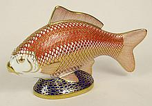 Royal Crown Derby Hand Painted Porcelain Fish Figurine. Signed on Bottom with Gold