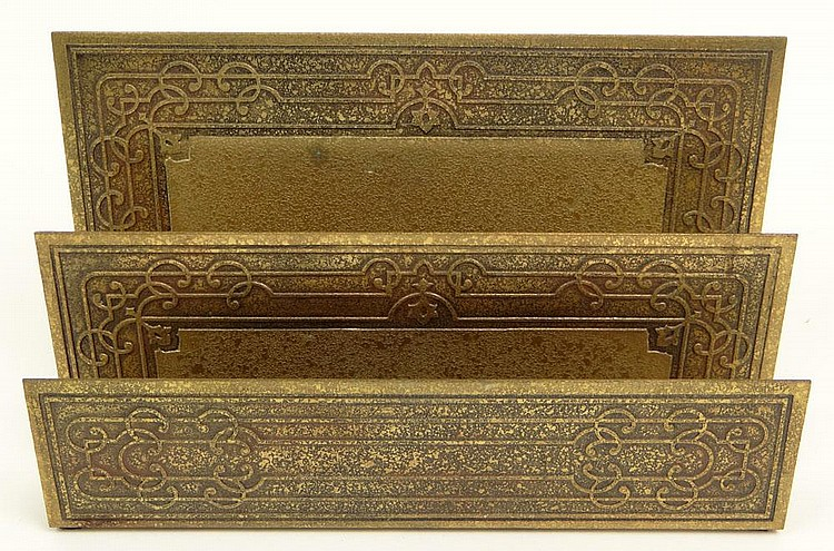 Early 20th Century Tiffany Studios New York Bronze Letter Holder. Marked Tiffany Studios New York. #1878. Unknown Pattern. Good to Very Good Condition. Measures 5-1/2 Inches Tall by 9-1/4 Inches Long and 2-3/4 Inches Wide. Shipping $38.00