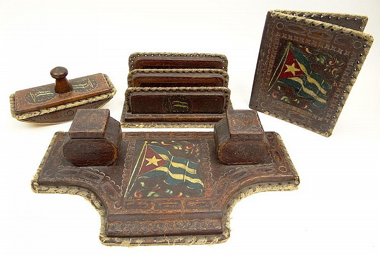 Historically Significant Circa 1948 Four (4) Piece Tooled Leather Desk Set Comprising a Letter Holder, Blotter, Notebook Cover and Inkstand. Each Piece Painted with the Cuban Flag. This Desk Set was owned by and adorned the Desk of Cuban President
