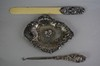 Antique Unger Brothers 3Pc Sterling Silver Dresser Set Approx. 3 Troy Ounces