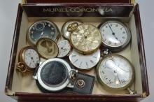 Cigar Box of Vintage Pocket Watches and parts