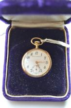 Antique 14K Yellow Gold Ladies Open Face Pocket Watch
