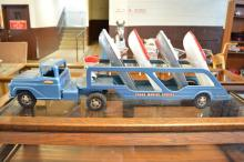 All Original Tonka Metal Marine Service Truck & Trailer with Four Boats & Two Motors