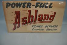 Ashland Flying Octanes Gasoline Paper Sign on Board