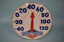 Vintage Briggs & Stratton Dealer Metal Thermometer Sign