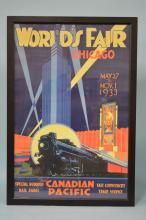 Reproduction Canadian Pacific Railroad 1933 Chicago World's Fair Framed Poster