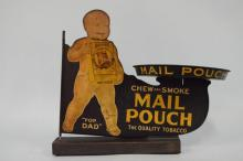 Antique Mail Pouch Tin Cutout Advertising Display With Tray