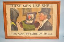Antique Framed English Shell Oil Jockey Poster