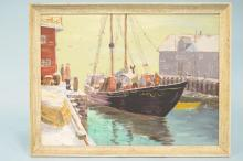 Vintage Oil Painting on Board Signed Renee Featuring A Fishing Boat & Crew