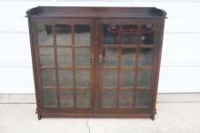 Gustav Stickley Double Glass Door Bookcase