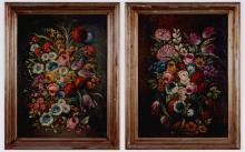 Pair of Dutch-School Floral Still Life Oil Paintings
