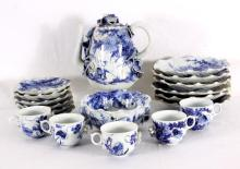 Japanese Lotus Hand-Painted Tea Set, 19 Pieces