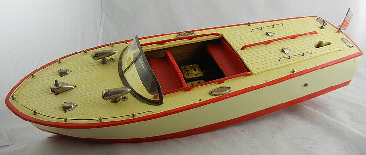 Antique Battery Operated Wood Speedboat