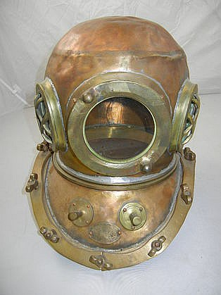 Antique Japanese Deep Sea Brass Diver's Helmet w/ Tag
