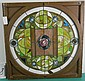 Outstanding American Arts and Crafts Stained Glass and Leaded Window in Square Frame, Round Pattern w/ Jewels and Rose in Center, few cracks in the glass, 2 broken bottom panels