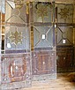 3 wrought iron glass door panels from Argentina, considerable breakage to glass, needs restoration