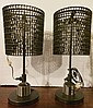 Pair of American Industrial Lamps, Made from Recycled Goods