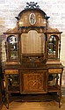 English Inlaid Rosewood Buffet and Server, Missing Center Mirror